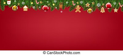 Red Merry Christmas With Christmas Border
