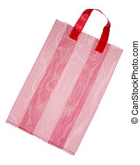 Red mesh bag isolated on white background