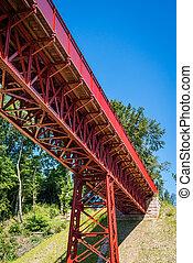 Red metal bridge in the summer