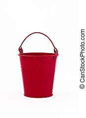 red metal bucket decorative isolated on white background