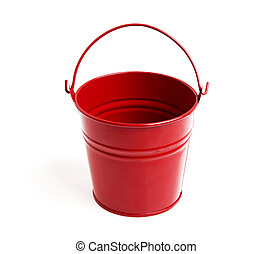 Red metal bucket isolated on a white background