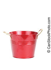Red Metal Bucket on White Background