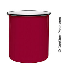 Red metal cup isolated on white