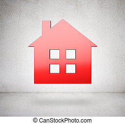 red metal house icon on a white background