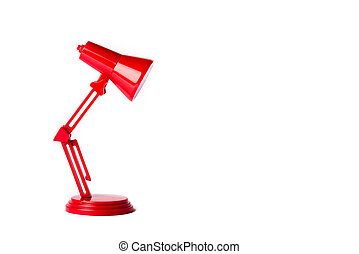 Red metal lamp with a white background
