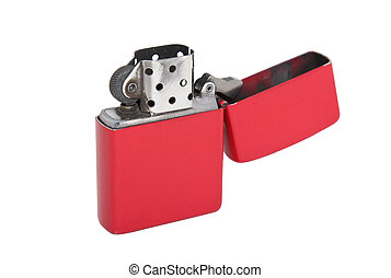 red metal lighter isolated on a white background