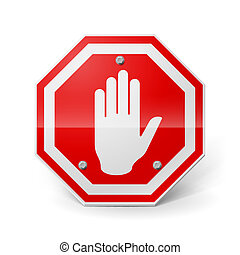 Shiny red metal stop sign with hand image over white