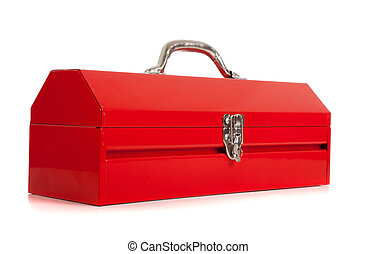 Red metal toolbox on white - A handyman\'s red metal...