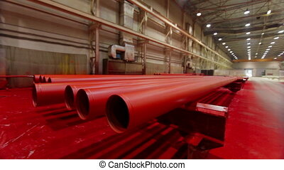 Red Metal tube production line at metal factory