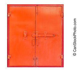 Red metal window on white background