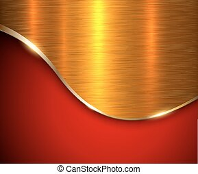 Red metallic background, elegant with gold wave and metal...