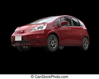 Red metallic modern compact car
