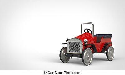 Red metallic vintage toy car