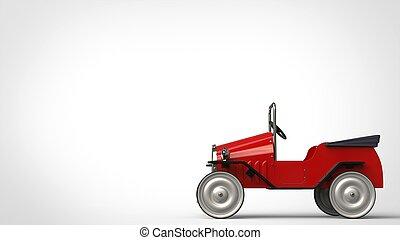 Red metallic vintage toy car - side view