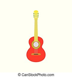 Red Mexican guitar. Vector isolated illustration on white background.