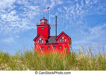 red Michigan lighthouse - Bright red lighthouse in dune...