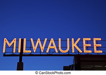 Red Milwaukee sign in downtown of the city