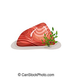Red mineral rock stone, design element of natural landscape vector Illustration on a white background