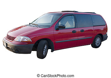 Red Mini Van - a red mini van over a white background