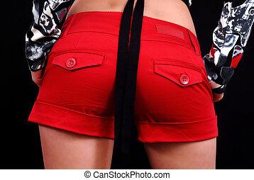 Red minishort ass