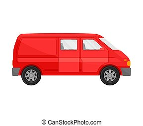 Red minivan. Vector illustration on a white background.