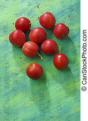 Red mirabelle plum fruits over painted textile background....