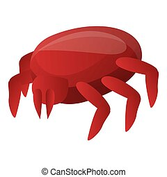 Red mite icon, cartoon style
