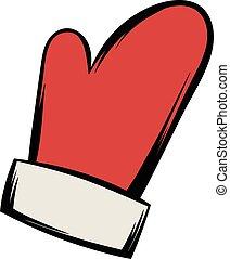 Red mitten icon cartoon