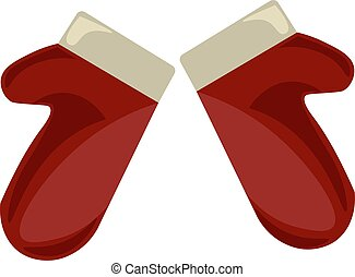 Red mittens, illustration, vector on white background.