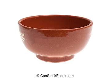 Red mixing bowl Isolated on white background.