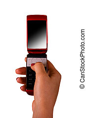 Red mobile phone in a female hand