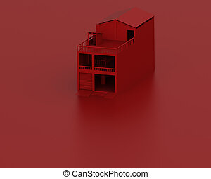 Red model house