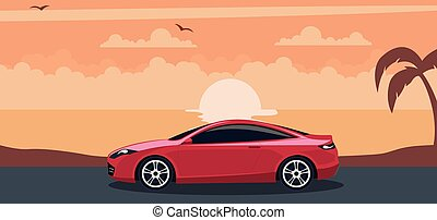 Red modern car background on a sunset at the beach