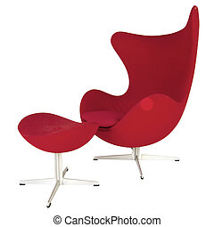 red modern chair and footstool isolated on white with clipping path