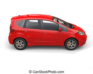 Red modern compact car - side view
