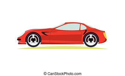 Red Modern Fast Sports Car on White Background. - Red modern...
