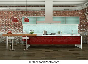 Red modern kitchen in a room with stone wall