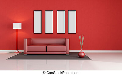 red modern living room with empty picture frame - rendering