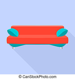 Red modern sofa icon, flat style