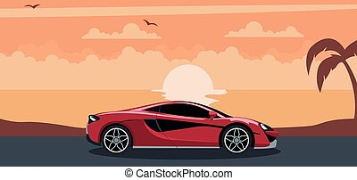 Red modern sports car background on a sunset at the beach