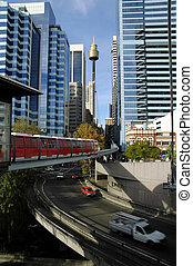 red monorail and Sydney tower in background