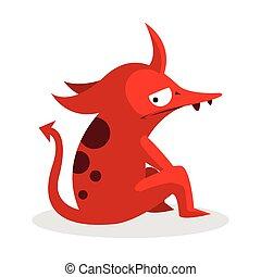 red monster illustration design