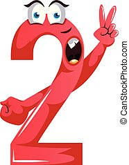 Red monster shape number two with a peace sign illustration vector on white background