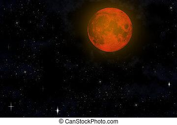 Red moon on dark sky