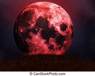 Illustration of halloween red full moon with clouds background.