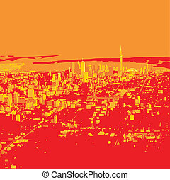 Red Morning Toronto - Abstract skyline silhouette of the...