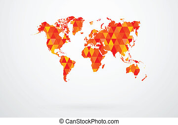 Red Mosaic Tiles World Map