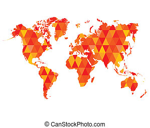 Red Mosaic Tiles World Map Isolated