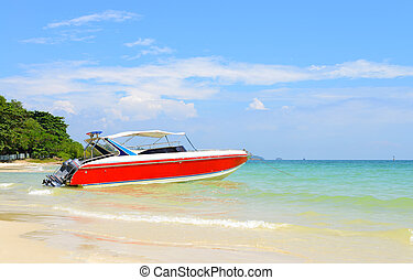 Red motor boat
