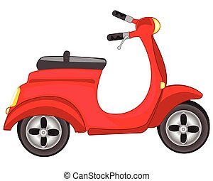 Red motor scooter - Illustration of a red scooter on a white...